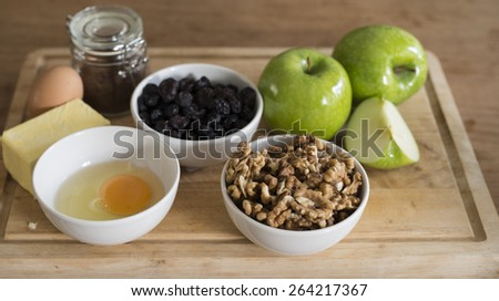 ingredients for making apple pie, shallow DOF - stock photo