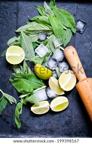 Ingredients for making mojitos Ice cubes, mint leaves and lime  - stock photo