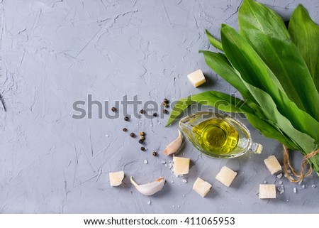 Ingredients for pesto. Bunch of ramson, olive oil, parmesan cheese, garlic, salt and pepper over gray textured background. Flat lay with copy space - stock photo