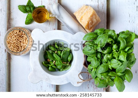 Ingredients for pesto sauce: fresh basil, parmesan cheese, pine seeds and olive oil. - stock photo
