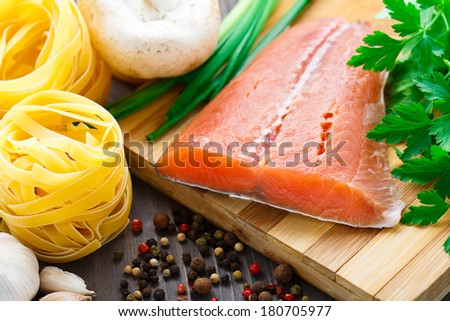 Ingredients for salmon pasta - stock photo