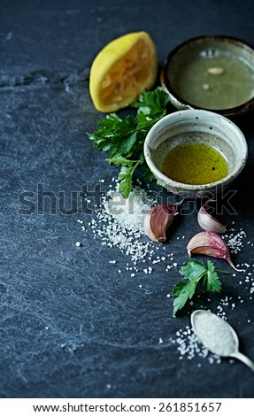 Ingredients for Salsa Verde - stock photo