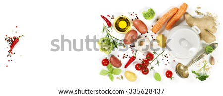 Ingredients for soup.Top view.  Bio Healthy food. Organic vegetables. - stock photo