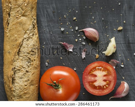 Ingredients for Spanish Tomato Bread. Pan con Tomate. Selective Focus. - stock photo