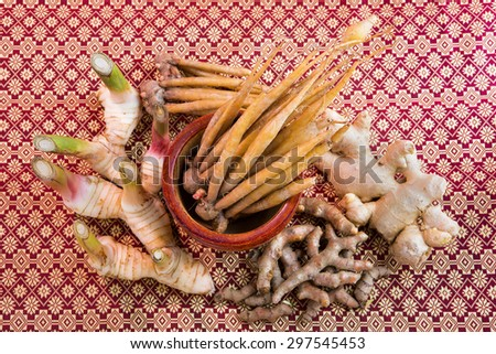 Ingredients for thai food Includes lemon grass, ginger, galangal, galingale and turmeric - stock photo