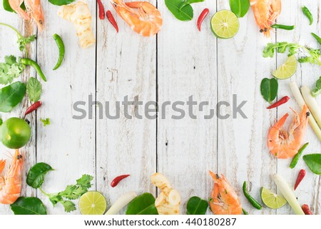 Ingredients for Thai Spicy Soup, Preparing, Cooking, with Free Space Text, TOM YUM - stock photo