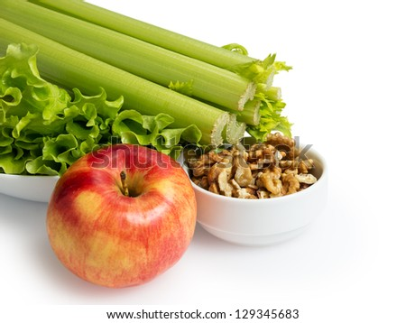 ingredients for waldorf salad, isolated on white background - stock photo