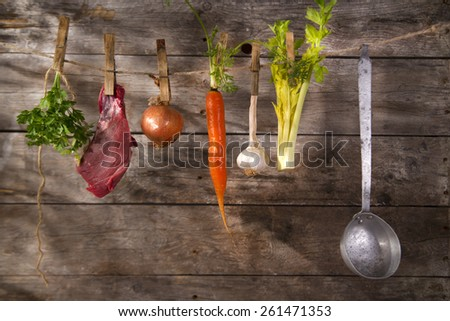 Ingredients needed for the preparation of the broth of beef - stock photo