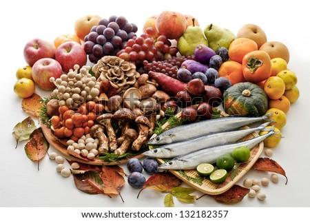 Ingredients of autumn - stock photo