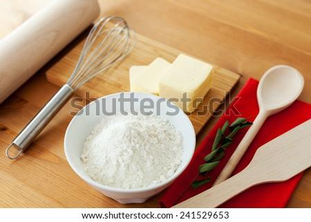 Ingredients to bake - stock photo