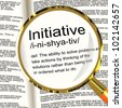 Initiative Definition Magnifier Shows Leadership Resourcefulness And Action - stock photo