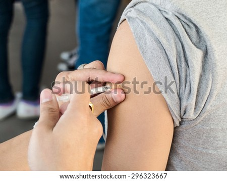 inject Disease vaccine protected for human - stock photo