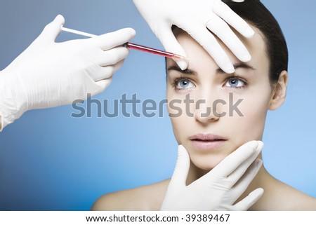 injection for a young woman - stock photo