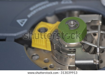 Injection port of gas chromatography closeup - stock photo