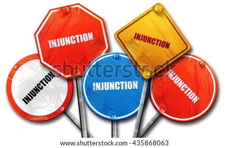 injunction, 3D rendering, rough street sign collection - stock photo