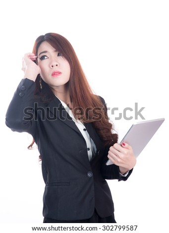injured business woman with headache, migraine, stress - stock photo
