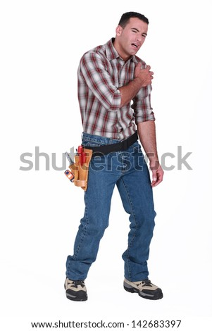 injured laborer, on white background - stock photo