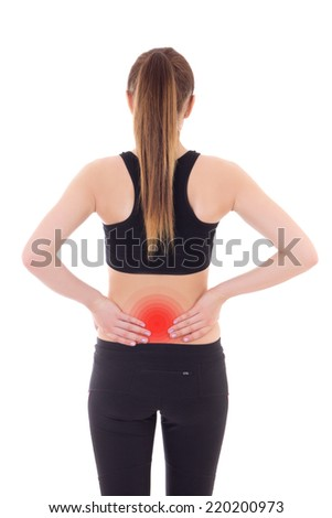 injury concept - young sporty woman with pain in her back isolated on white background - stock photo