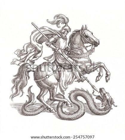 Ink and pen drawing, knight slaying a dragon. - stock photo