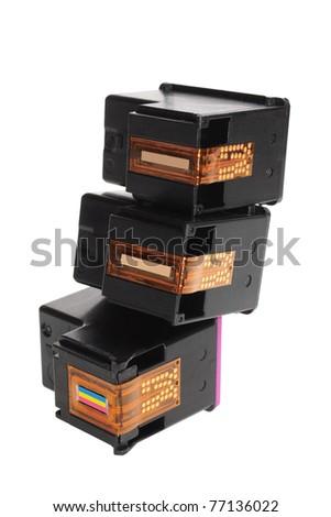 Ink Cartridges on White Background - stock photo