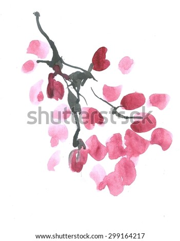Ink Cherry Blossom illustration. - stock photo