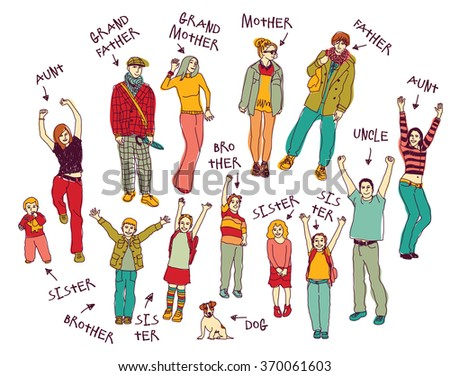 Ink hand drawn family isolated people set. Every object is separated. Color illustration.  - stock photo