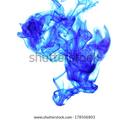 Ink in water isolated on white - stock photo