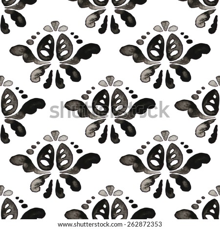 Ink pattern. Damask seamless pattern. Raster illustration. - stock photo
