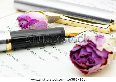 Ink pen and dry rose lying on the letter-Czech. - stock photo