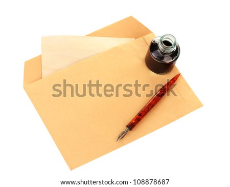 ink pen, inkwell and old letter isolated on white - stock photo