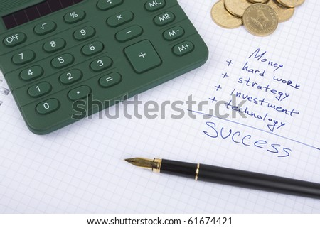 Ink pen on the paper with some business quotes, calculator and coins - stock photo
