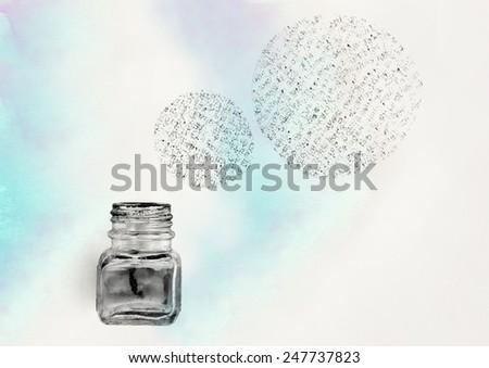 ink pot - stock photo