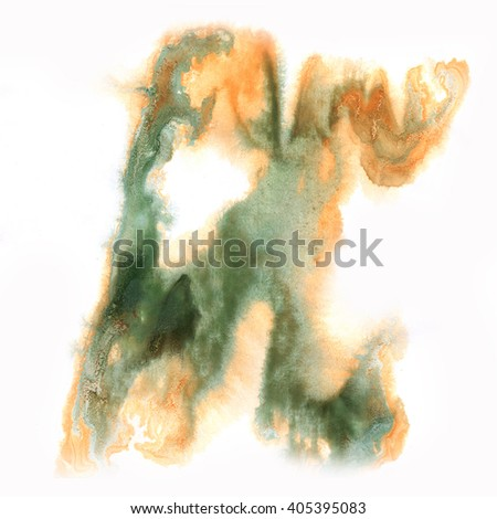 ink splatter watercolour dye liquid watercolor macro spot blotch texture brown green isolated on white background - stock photo