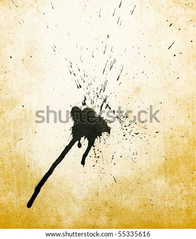 Ink stain on old paper background. - stock photo