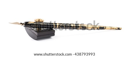 Ink writing tools composition of a blotting paper press and dip tip pen, isolated over the white background - stock photo