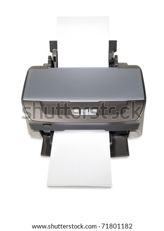 Inkjet printer with white papers - stock photo