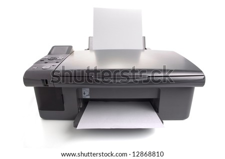 Inkjet printer with white papers. You can put your images - stock photo