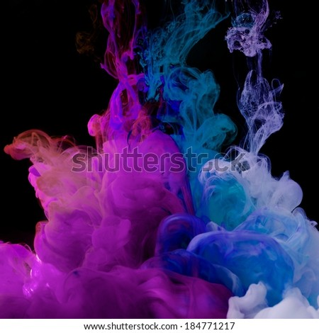inks in water color abstraction - stock photo