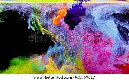 Inks in water, color abstraction, color explosion - stock photo