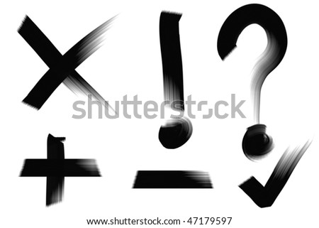 Inky black oil paint symbols. Real media illustration. - stock photo