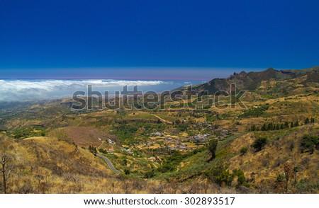 Inland Central Gran Canaria, Las Cumbres, the highest areas of the islands, view over valley Barranco de Las Lagunetas - stock photo