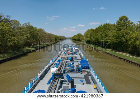 Inland tanker on the Dortmund-Ems Canal - stock photo