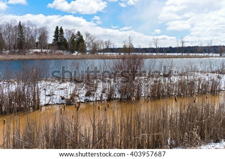 inlet and backwaters of pokegama lake in grand rapids minnesota  - stock photo