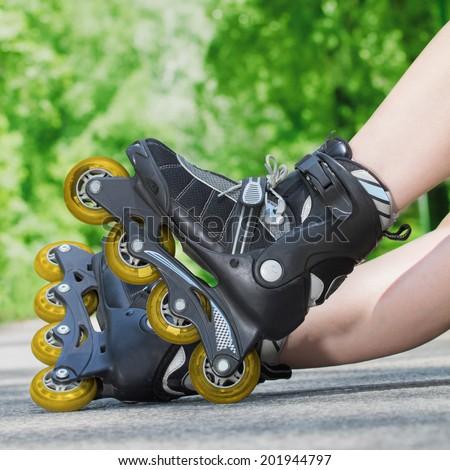 Inline skates close-up.  - stock photo