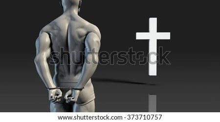 Inmate Convict Prisoner Converting to Christian Faith - stock photo