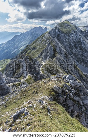 Inn Valley as seen from Nordkette mountain and ski area in Tyrol region, nord of Innsbruck in western Austria. - stock photo