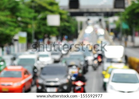Inner City Grid Locked Traffic Background - Defocused Image - stock photo