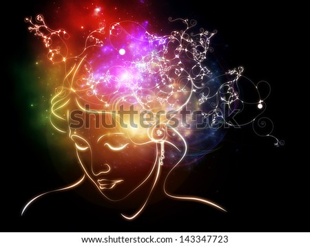Inner Colors series. Interplay of female head drawing and decorative elements on the subject of design, imagination, and creativity - stock photo