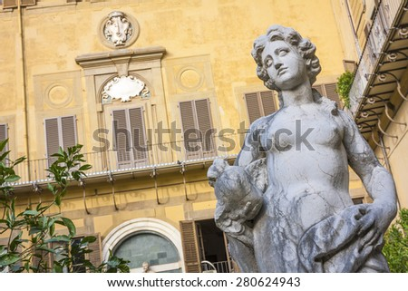 Inner courtyard of Medici Riccardi Palace. Florence, Italy - stock photo