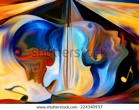 Inner Melody series. Backdrop of colorful human and musical shapes on the subject of spirituality of music and performing arts - stock photo